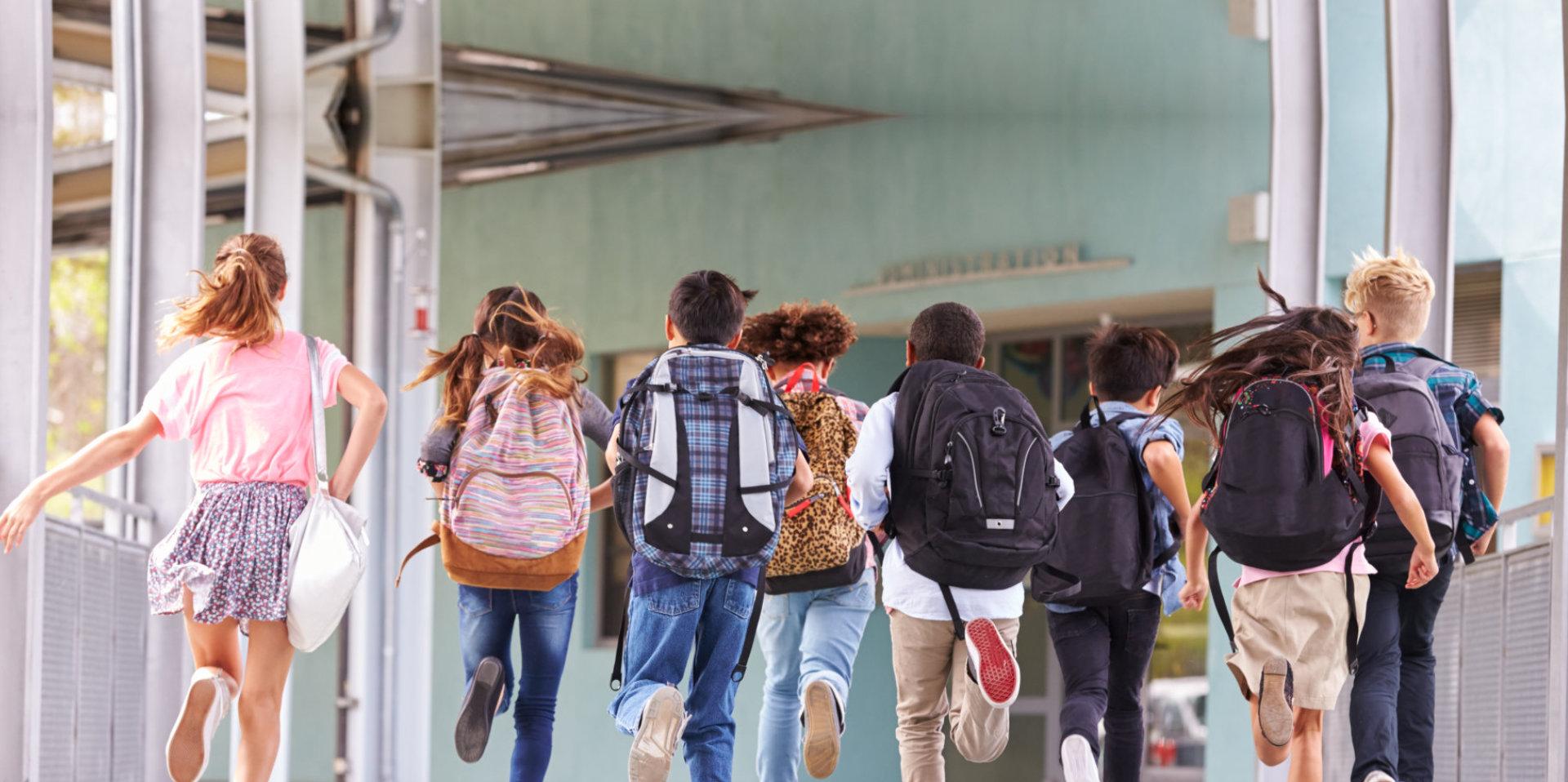 kids running to school