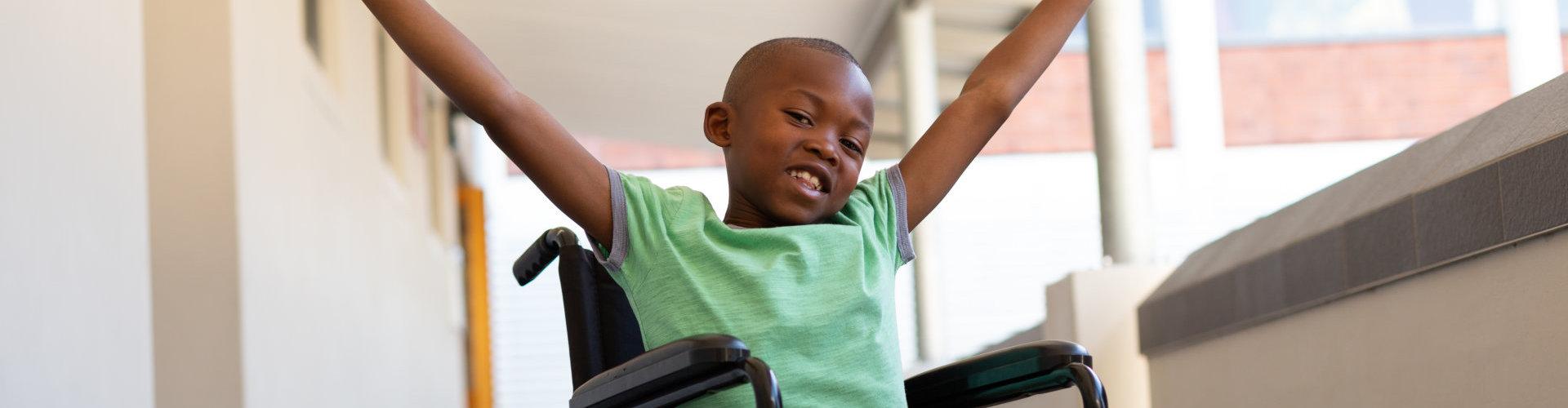 boy on a wheelchair